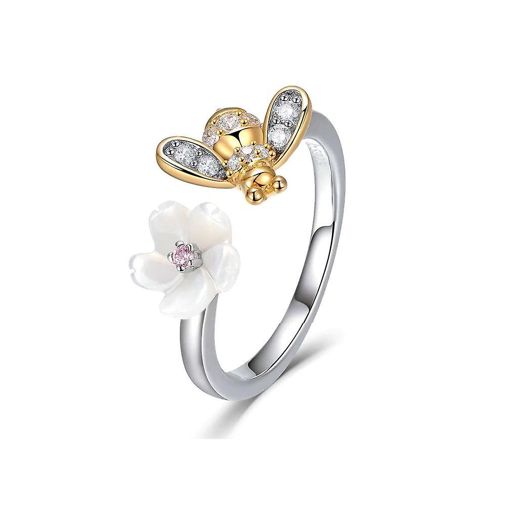 Bague ajustable Abeille et Fleur orné de Cristal de Swarovski Blanc, Nacre et Argent 925 8160