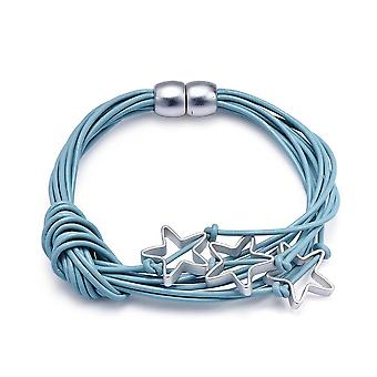 Intrigue Womens/Ladies Leather Bracelet With Star Charms