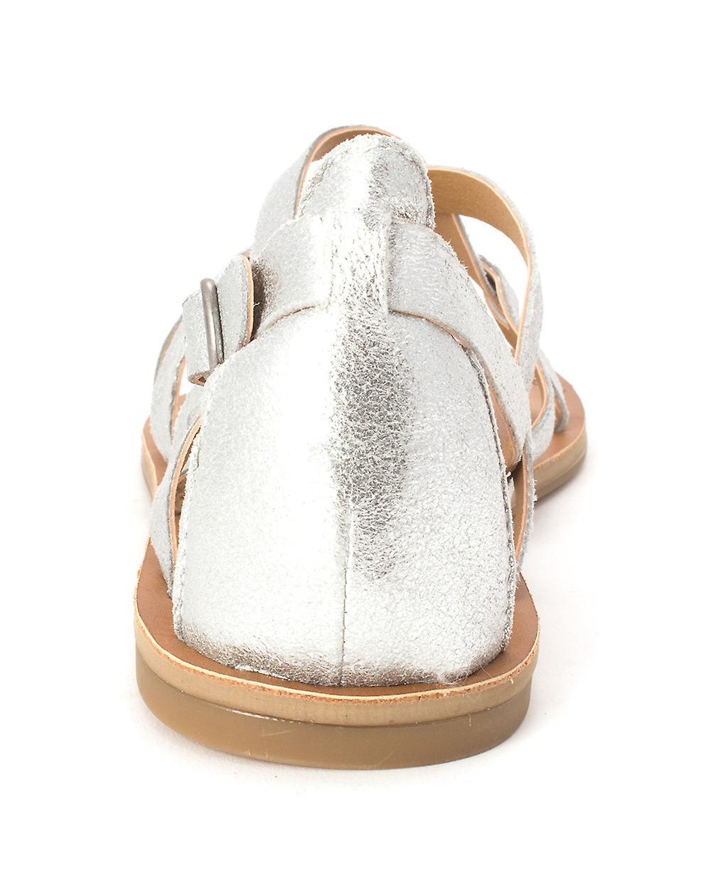 Szczęście marki Ainsley damskie skórzane Split dorywczo kostki Strap sandały PaNudN