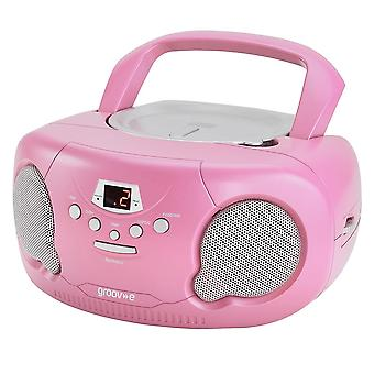 Groov-e Boombox Portable CD Player with Radio/Aux In/Headphone Pink (GVPS733PK)