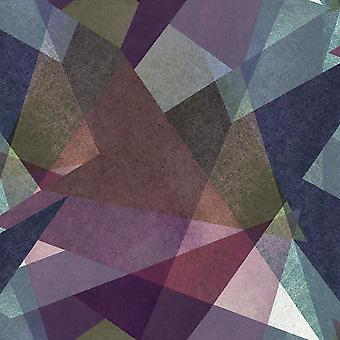 Geometric Triangles Wallpaper Purple Pink Blue Green Vinyl Paste Wall Ugepa