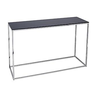 Gillmore Black Glass And Silver Metal Contemporary Console Table