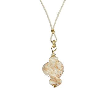 Eternal Collection Sirocco White Twisted Murano Glass Pendant Necklace