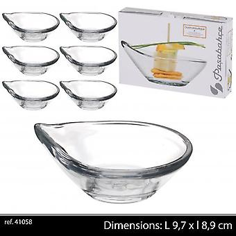 Pratos de vidro Coupelle Passabache 6Pc Tapas Gastro