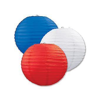 Papierlaternen (Pack Von 3) - Rot, Weiß & Blau