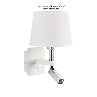 Mantra Habana wand lamp 1 licht zonder kap E27 + leeslampje 3W LED 3000K, 200lm, mat wit/gepolijst chroom, 3 jaar garantie