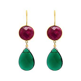 Boucles d'oreilles Gemshine rubis rouges vert tourmaline goutte 925 argent ou or plaqué