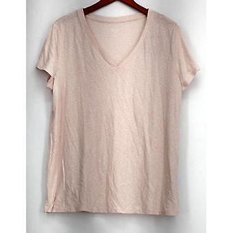 Mossimo XXL Short Sleeve V-Neckline Light Weight Top Pink Womens