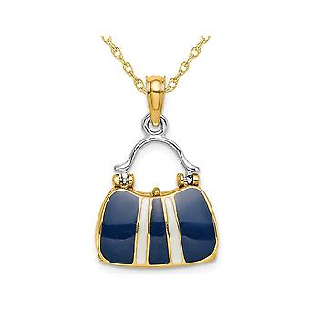 14K Yellow Gold 3-D Navy Blue Enameled Handbag Moveable Charm Pendant Necklace with Chain