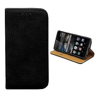 Bookcase PU Lederlook voor Huawei Y5 II / Y6 II Compact Zwart