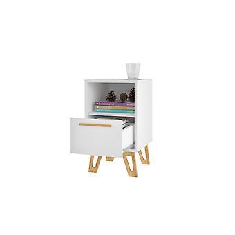 Manhattan comfort  doris 1-drawer mid- century nightstand in white
