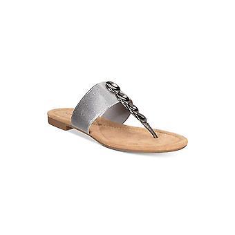 Alfani femei henii Split Toe casual slide sandale, Pewter, Dimensiune 5,5 argint
