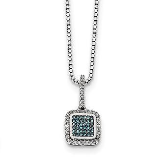 925 Sterling Silver Gift Boxed Spring Ring Cut out kanten Rhodium verguld met witte blauwe diamanten vierkante hanger ketting
