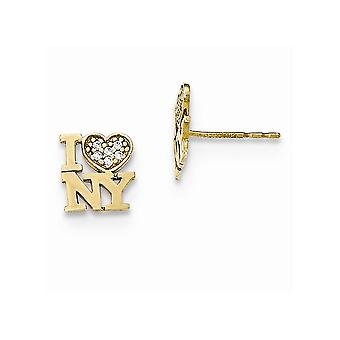 14k Yellow Gold Polished CZ Cubic Zirconia Simulated Diamond  I Love Ny for boys or girls Post Earrings Measures 9x7mm W