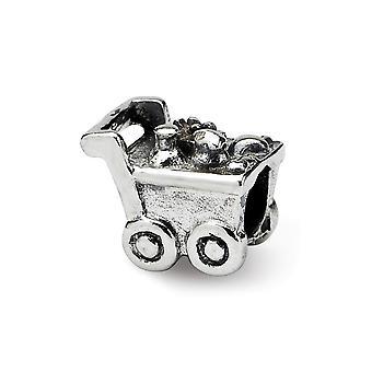 925 Sterling sølv polert Antique finish Reflections Kids handlevogn perle sjarm