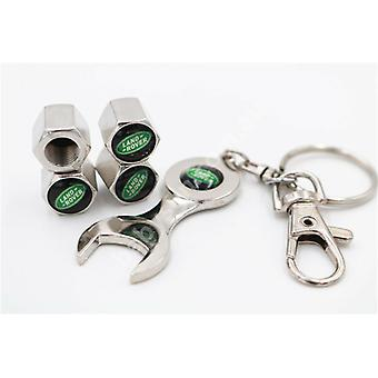 Set of 4 Chrome Anti-Theft Car Tyre Air Dust Valve Stem Cap With Keyring Spanner For Land Rover