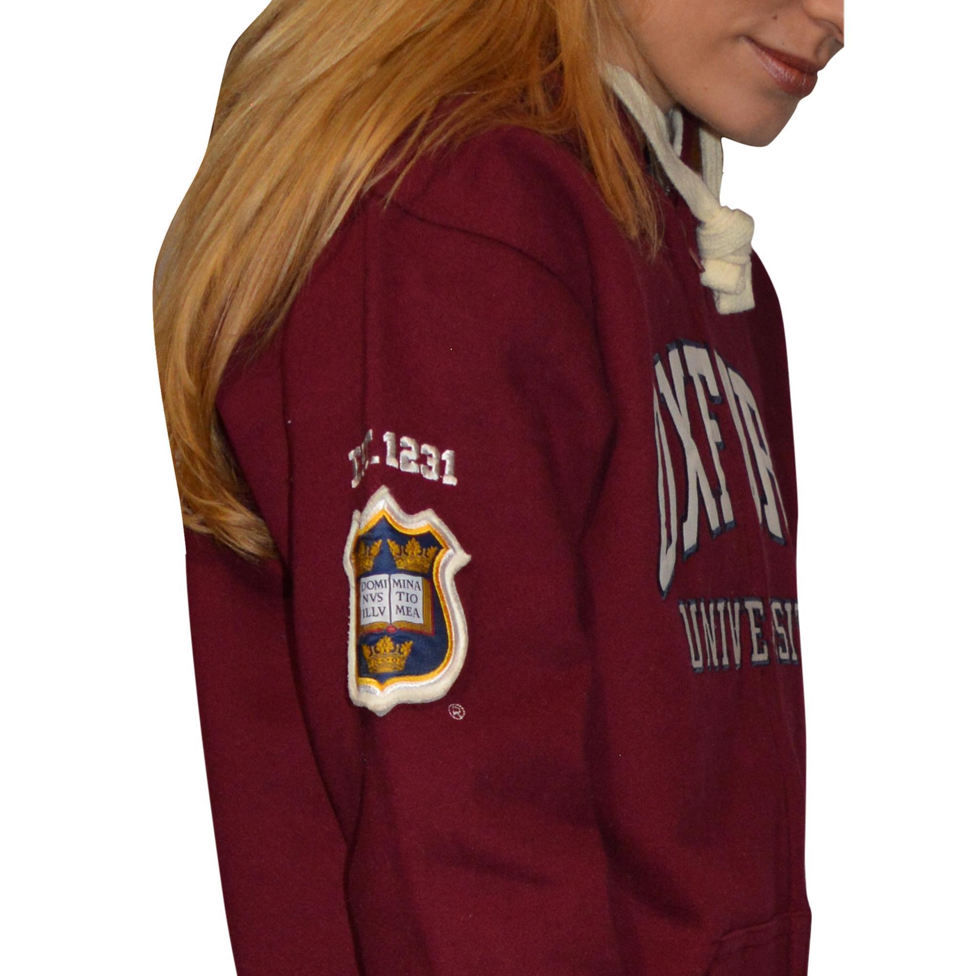 Ou129 licensed zipped unisex oxford university™ hooded sweatshirt maroon