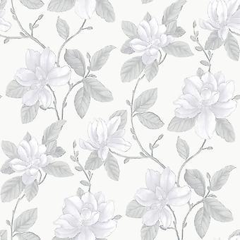 Watercolours Lilac White Floral Wallpaper Lily Country Flowers Botanical Galerie