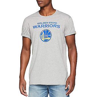 New Era Mens Golden State Warriors NBA kori pallo Lyhythihainen T-paita-harmaa