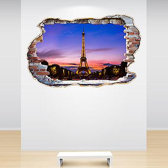Full Colour Eiffel Tower Paris Sunset Smashed Wall 3D Effect Wall Sticker