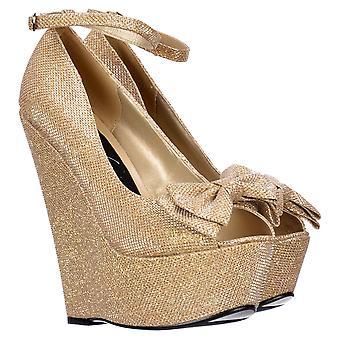Onlineshoe Glitter Wedge Platform Shoes Ankle Strap - Peep Toe Bow