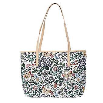 Voysey - spring flowers shoulder tote bag by signare tapestry / coll-spfl