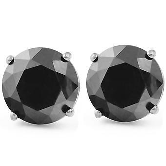 2 1/2ct الماس الأسود ترصيع النساء أقراط 14K الذهب الأبيض