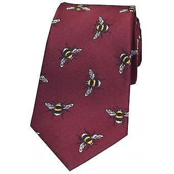 David Van Hagen Bumble Bee Luxury Silk Tie - Wine Red