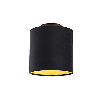 Lampe de plafond QAZQA avec 20cm Velvet Black Shade - Combi Black
