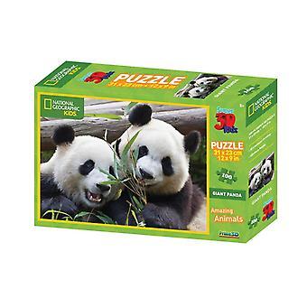 Prime 3D Puzzel 31x23cm 100st. Pandas National Geographic 5+