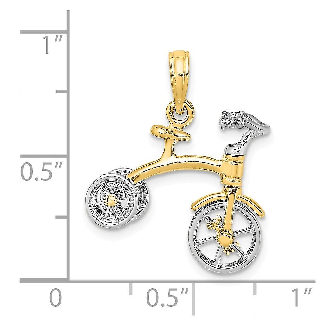 14k Two tone Gold 3 d Tricycle With Moveable Handlebars And Wheels Charm Pendant Necklace Jewelry Gifts for Women