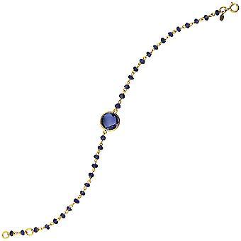 925 Sterling Silver 14k Guldpläterade Ametist Pärla armband med 10mm Center justerbar 7,50 tums smycken gåvor för kvinnor