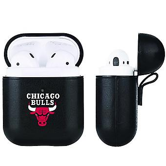 Chicago Bulls NBA Fan Brander Zwart Lederen AirPod Case