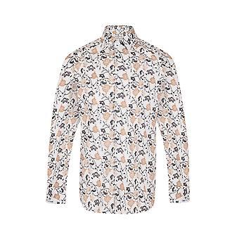 JSS Orange & Black Floral White Regular Fit 100% Katoen shirt