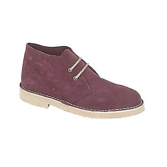 Roamers Bordeaux Real Suede Desert Boot Unlined Tpr Sole