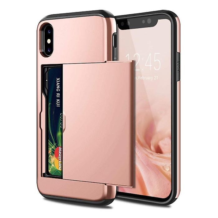 VOFOLEN iPhone XS Max - Wallet Card Slot Cover Case Business Pink