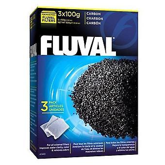Fluval FLUVAL hiili 300g 3 x 100 (kala, suodattimet & vesipumput, suodatin sieni ja vaahdon)