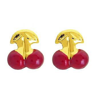 Ohrringe; Rotgold Kirsche Ohrringe 750/1000 gelb (18K)