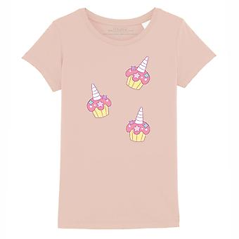 STUFF4 Girl's Round Neck T-Shirt/Pink Unicorn Cupcakes/Coral Pink