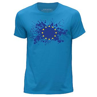 STUFF4 Men's Round Neck T-Shirt/European Union/EU Flag/Blue