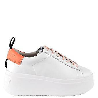 Ash MOON Platform Trainers White & Coral Leather