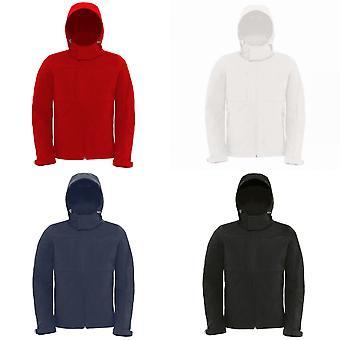 B&C Mens Hooded Softshell Breathable, Waterproof & Windproof Jacket (Fleece Lining)