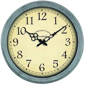 Indoor/Outdoor Wall Clock Retro Vintage Style Weather Proof Battery Powered