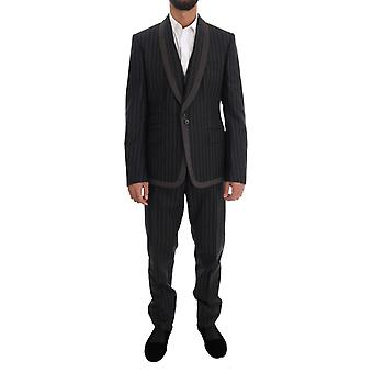 Gray wool one button 3 piece suit