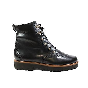 Paul Green 9644-01 Black Leather Womens Lace/Zip Up Brogue Ankle Boots