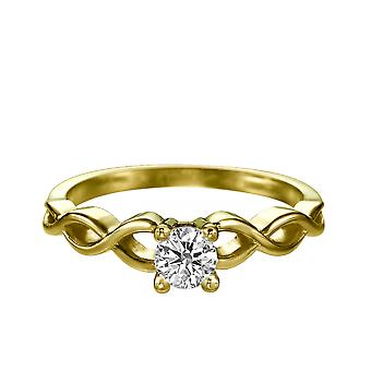 0.7 Carat D SI1 Diamond Engagement Ring 14K Yellow Gold Solitaire Rope Round