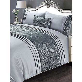 Funda de edredón de Charleston y juego de cama de funda de almohada - doble, gris