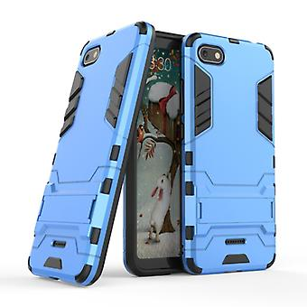HATOLY iPhone SE (2020) - Robotic Armor Case Cover Cas TPU Case Blue + Kickstand