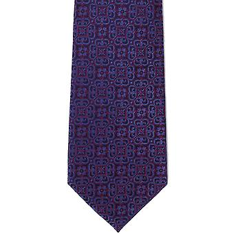 Michelsons of London Ornate Medallion Silk Tie - Magenta/Blue