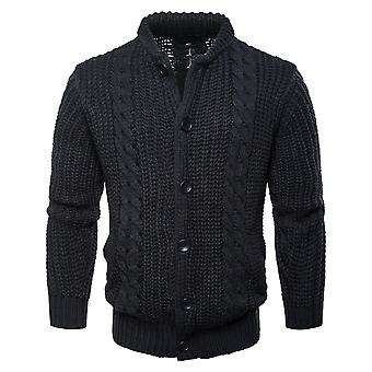 Cloudstyle Men's Sweater Cotton Solid Round Neck Buttons Knitwear